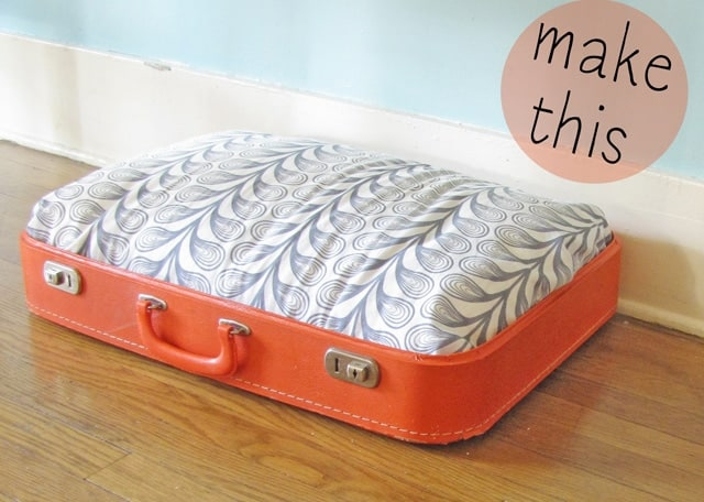 image of: old suitcase dog bed